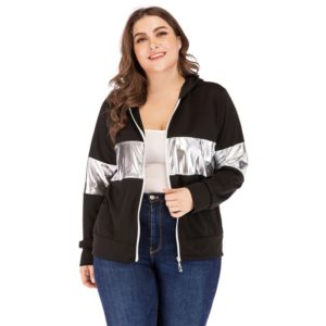 Plus Size Women Colorblock Round Neck Long Sleeve Hooded Jacket (Color:Black Size:XXL)
