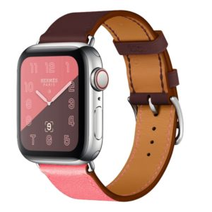 Two Color Single Loop Leather Wrist Strap Watchband for Apple Watch Series 3 & 2 & 1 42mm, Color:Pink+Wine Red