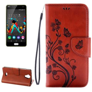 Pressed Flowers Horizontal Flip Leather Case for Wiko U Feel Lite, with Magnetic Buckle & Holder & Card Slots & Wallet(Brown)