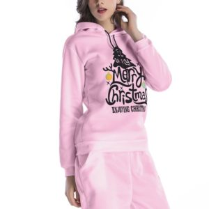Hooded Long Sleeve Casual Loose Sweatshirt (Color:Pink Size:L)