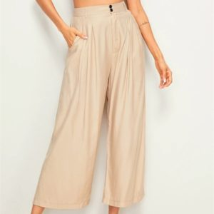 Ramie Cotton Cropped Trousers With Wide Legs (Color:As Show Size:S)