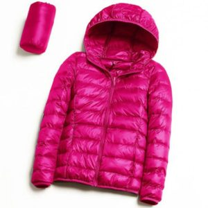 Casual Ultra Light White Duck Down Jacket Women Autumn Winter Warm Coat Hooded Parka, Size:XXXXL(Rose Red)
