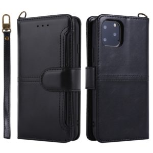 For iPhone 11 Pro Lambskin Texture Horizontal Flip PU Leather Case with Holder & Card Slots & Frame & Lanyard(Black)
