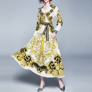 Printed V-neck Large Swing Dress (Color:Yellow Size:XXL)