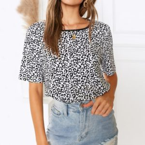 Casual Print Short-sleeved Round Neck T-shirt, Size: L(As Show)