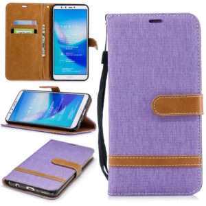 Color Matching Denim Texture Leather Case for Huawei Y9 2018 & Enjoy 8 Plus , with Holder & Card Slots & Wallet & Lanyard(Purple)