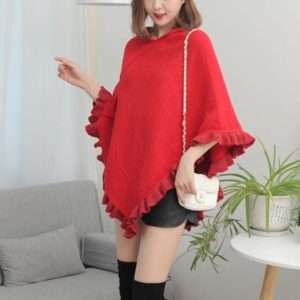 Irregular Flouncing Temperament Loose Cloak Cape Tide Wild Knitted Coat (Color:Red Size:One? Size)