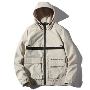 Hooded Trend Embroidery Casual Youth Jacket for Men (Color:Beige Size:XXXL)