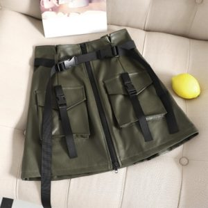 2 PCS Flower Skirt Skirt Chic PU Leather Tooling Zipper A Word Skirt with Belt, Size: L(Army Green)