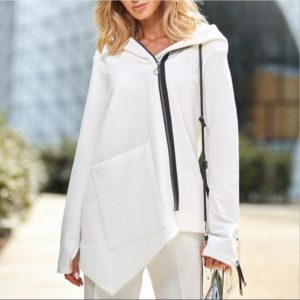 Irregular Pocket Jacket Sweatshirt (Color:White Size:M)