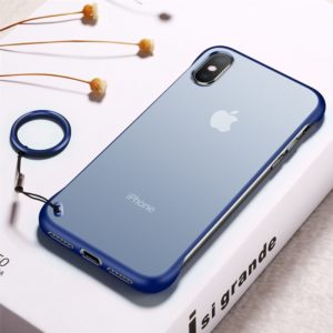 Frosted Anti-skidding TPU Protective Case with Metal Ring for iPhone XS Max(Blue)