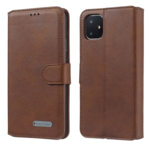For iPhone 11 Pro Max Solid Color Buckle Horizontal Flip Leather Case with Wallet & Holder & Card Slots(Brown)