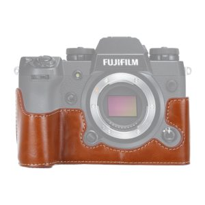 1/4 inch Thread PU Leather Camera Half Case Base for FUJIFILM X-H1 (Brown)