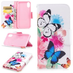 Colored Drawing Pattern Horizontal Flip Leather Case for Xiaomi PocoF1,with Holder & Card Slots & Wallet(Two Butterflies)