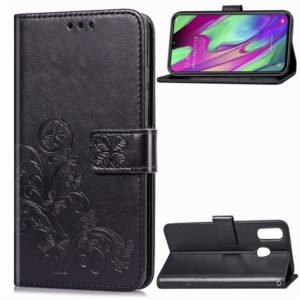 Lucky Clover Pressed Flowers Pattern Leather Case for Galaxy A40, with Holder & Card Slots & Wallet & Hand Strap (Black)