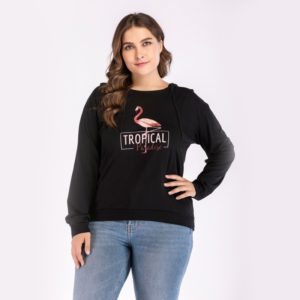 Round Neck Plus Size Women Printed Hoodie (Color:Black Size:XL)