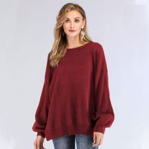 Round Neck Long Sleeve Solid Color Pullover Loose Lantern Sweater(Color:Red Size:One Size)