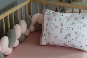 Mother Touch Πλεξούδα - Πάντα Nany Grey - Pink Small 140x18