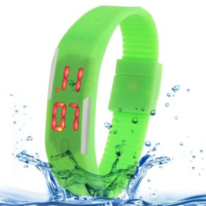 Fashion Waterproof Silicone Bracelet Watch with LED Display(Green)