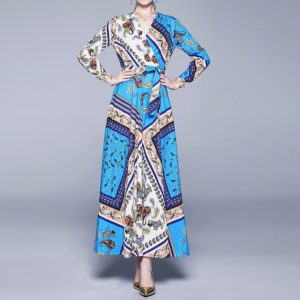 V-neck Printing Thin Waist Big Swing Dress (Color:Blue Size:M)
