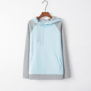 Stitched Hooded Zipper Long Sleeve Sweatshirt (Color:Baby Blue Size:XXXL)