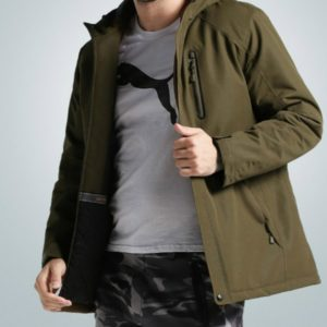 Autumn and Winter Men and Women Smart Heating Jacket Carbon Fiber Heating Travel Jacket, Size:M(Men Army Green)