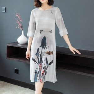 Chinese Style Fashion Ink Printing Loose Long Section Retro Dress(Color:Grey Size:One Size)