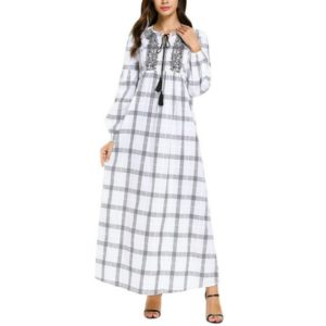 Plaid Embroidered Fresh Dress, Size:XL(White)
