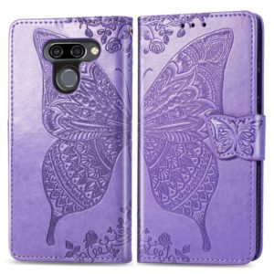 Butterfly Love Flowers Embossing Horizontal Flip Leather Case for LG K50 , with Holder & Card Slots & Wallet & Lanyard(Light purple)