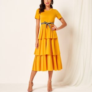 Short Sleeve Dress Cake Skirt (Color:Yellow Size:L)
