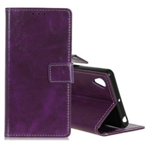 Retro Crazy Horse Texture Horizontal Flip Leather Case for Huawei Honor 8S, with Holder & Card Slots & Photo Frame (Purple)