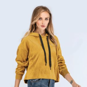 Round Neck Long Sleeve Solid Color Sweatshirt (Color:Yellow Size:M)
