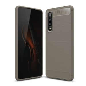 Brushed Texture Carbon Fiber Shockproof TPU Case for Huawei P30 (Grey)
