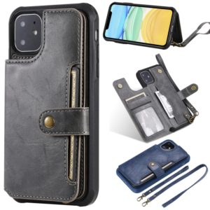 For iPhone 11 Buckle Zipper Shockproof Protective Case with Holder & Card Slots & Wallet & Lanyard & Photos Frame(Gray)