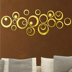 Wall Clock 3D Three-dimensional Acrylic Fashion Mirror Wall Stickers Clock DIY Circle Combination Decorative Clock(Gold)