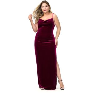 Plus Size Women Sling Backless Side Slit Dress (Color:Wine Red Size:XXXXL)
