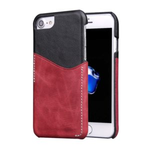 For iPhone 8 & 7 Genuine Cowhide Leather Color Matching Back Cover Case with Card Slot(Wind Red)