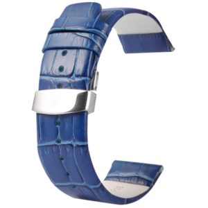Kakapi for Apple Watch 42mm Crocodile Texture Double Buckle Genuine Leather Watchband, Only Used in Conjunction with Connectors (S-AW-3293)(Blue) (Kakapi)