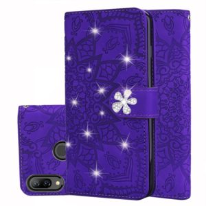 For Huawei Y7 Pro (2019) Calf Pattern Diamond Mandala Double Folding Design Embossed Leather Case with Wallet & Holder & Card Slots(Purple)