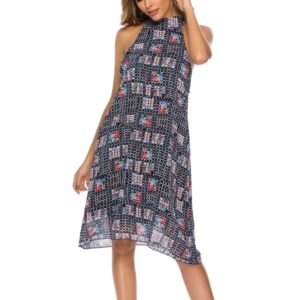 Stand Collar Sleeveless Printed Chiffon Dress Beach Dress (Color:Black Size:L)