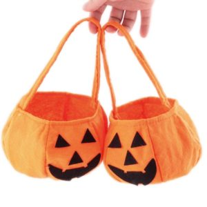 2 PCS Halloween Decoration Smile Pumpkin Style Kids Candy Bag