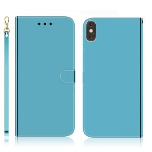 For iPhone XS Max Imitated Mirror Surface Horizontal Flip Leather Case with Holder & Card Slots & Wallet & Lanyard(Blue)
