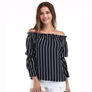 Stripe Flare Sleeve T-Shirt (Color:Dark Blue Size:S)