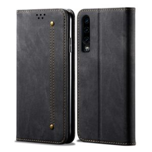 For Huawei P30 Denim Texture Casual Style Horizontal Flip Leather Case with Holder & Card Slots & Wallet(Black)