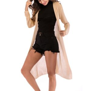 Fashion Cardigan Solid Color Knit Sweater (Color:Apricot Size:L)