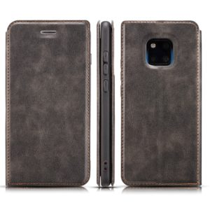 Retro Simple Ultra-thin Magnetic Horizontal Flip Leather Case for Huawei Mate 20 Pro, with Holder & Card Slots & Lanyard (Black)