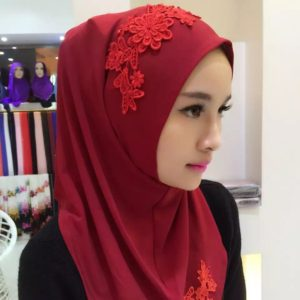 Fashion Lace Embroidery Flowers Linen Pullovers Female Scarf Hui Nationality Folk Style Hijab Muslim Scarf(Wine Red)