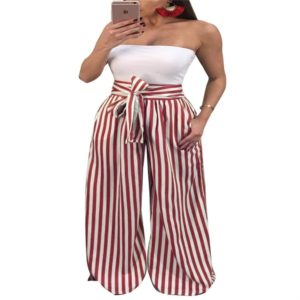 Sexy Wide Leg Pants Outdoor Striped Loose Pants, Size:M(Red)