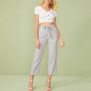 Seven Striped Waist Bow Tie Wide Leg Slacks (Color:Grey Size:S)
