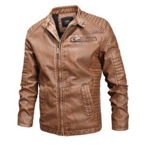 Fashionable Men Leather Jacket (Color:Khaki Size:L)